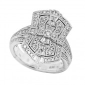 EFFY 14K White Gold Art Deco Style Diamond Shield Ring