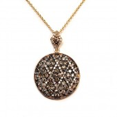14K Yellow Gold Chocolate And White Diamond Pave Disc Pendant