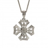18K White Gold Diamond Cross Pendant By Alex A
