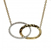 14K Yellow and White Gold Interlocking Oval Diamond Necklace