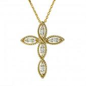 EFFY 14K Yellow Gold Diamond Cross Pendant