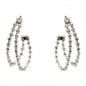 18K White Gold Diamond Double Loop Earrings