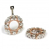 14K White and Rose Gold Diamond Round Earring Jackets