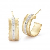 14K Yellow Gold Diamond Hoop Gallery Earrings