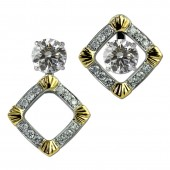 14K White and Yellow Gold Convertible Earring Jackets