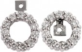 14K White Gold Diamond Convertible Earring Jackets