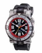 Reactor Poseidon Stainless Steel Black and Red Watch with Rubber Strap