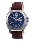 Reactor Fermi Stainless Steel Watch with Blue Dial and Brown Leather Strap