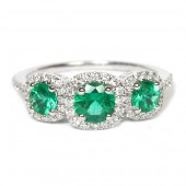 14K White Gold Three-Stone Emerald and Diamond Ring