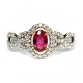 14K Two-Tone Ruby And Diamond Ring