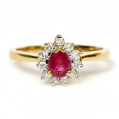 18K Yellow Gold Pear-Shaped Ruby and Diamond Ring