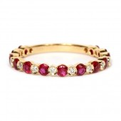 18K Yellow Gold Ruby and Diamond Stackable Band