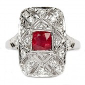 18K White Gold Ruby and Diamond Filigree Ring