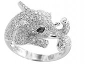 EFFY 14K White Gold Diamond Elephant Ring