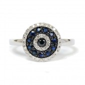 14K White Gold Sapphire And Diamond Evil Eye Ring