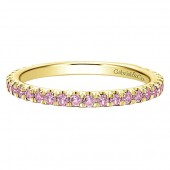 14K Yellow Gold Pink Sapphire Stackable Band