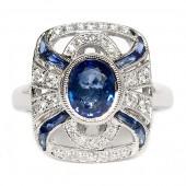 18K White Gold Diamond and Sapphire Art Deco Inspired Ring