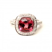 14K White Gold Pink Tourmaline and Diamond Ring