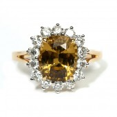 14K Yellow Gold Golden Zircon And Diamond Ring
