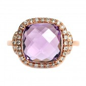 14K Rose Gold Amethyst And Diamond Ring