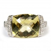 14K White Gold Lemon Quartz Ring