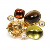 Yellow Gold Multi-Gem Freeform Ring