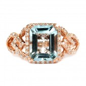 14K Rose Gold Aquamarine and Diamond Ring