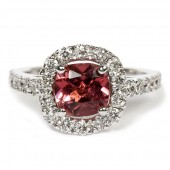 14K White Gold Pink Tourmaline with Diamond Ring