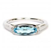 14K White Gold Sideways Oval Blue Topaz and Diamond Ring