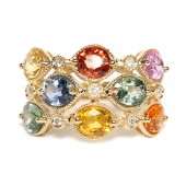14K Yellow Gold Multi-Color Sapphire and Diamond Ring
