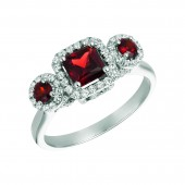 University of Alabama 14K White Gold Roll Tide Garnet and Diamond Ring (size 9)