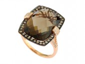 EFFY 14K Rose Gold Smoky Quartz and Diamond Ring