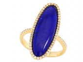EFFY 14K Yellow Gold Lapis and Diamond Ring