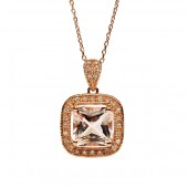 14K Rose Gold Morganite Pendant with Diamond Halo and Bail