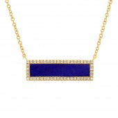 14K Yellow Gold Lapis and Diamond Bar Necklace