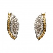 18K Two-Toned Yellow, Brown, and White Pavé Diamond Earrings