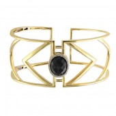 EFFY 14K Yellow Gold Onyx and Diamond Wide Cuff Bracelet