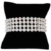 Four Strand Akoya Pearl and Diamond Bracelet