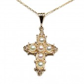 14K Yellow Gold Pearl and Diamond Cross