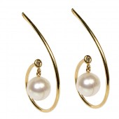 18K Yellow Gold Wire Swirl Earrings with Diamond and Pearl Drop