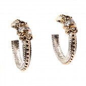 Alwand Vahan Sterling Silver And 14K Yellow Gold Diamond Hoop Earrings