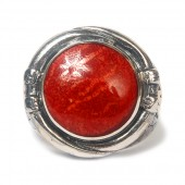 University Of Alabama 18K Yellow Gold And Sterling Silver Red Coral Ring