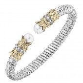 Vahan Sterling Silver and 14K Yellow Gold Pearl and Diamond Bangle Bracelet (6mm)