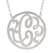 "Sterling Silver 1-Inch Script ""C"" Initial Necklace"