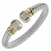 Vahan Sterling Silver and 14K Yellow Gold Diamond Bangle Bracelet (8mm)
