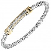 Vahan Sterling Silver And 14K Yellow Gold Diamond Bar Bracelet (4mm)