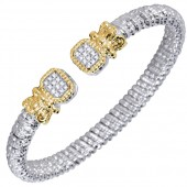 Vahan Sterling Silver and 14K Yellow Gold Diamond Bangle Bracelet (6mm)