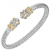 Vahan Sterling Silver and 14K Yellow Gold Diamond Bangle Bracelet (4mm)