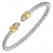 Vahan Sterling Silver and 14K Yellow Gold Diamond Bangle Bracelet (3mm)