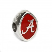 Sterling Silver and Crimson Enamel University of Alabama Football Bead